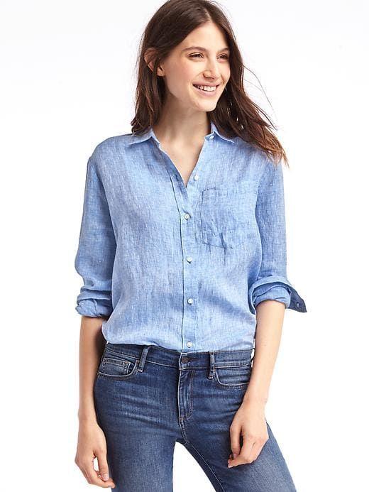 c5e074fc718 Gap Womens Linen Oversize Boyfriend Shirt Light Blue