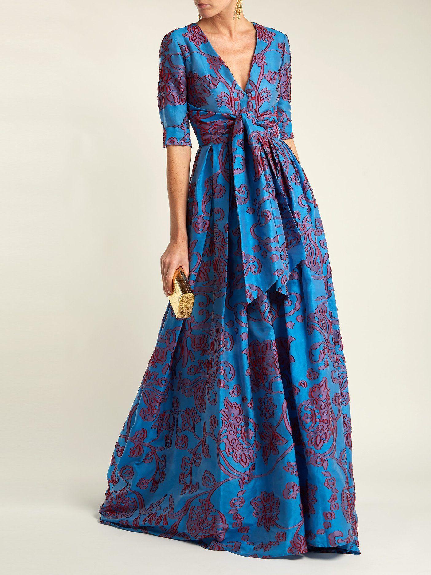 9d599926ebb04 Knotted floral devoré gown   Carolina Herrera   MATCHESFASHION.COM ...