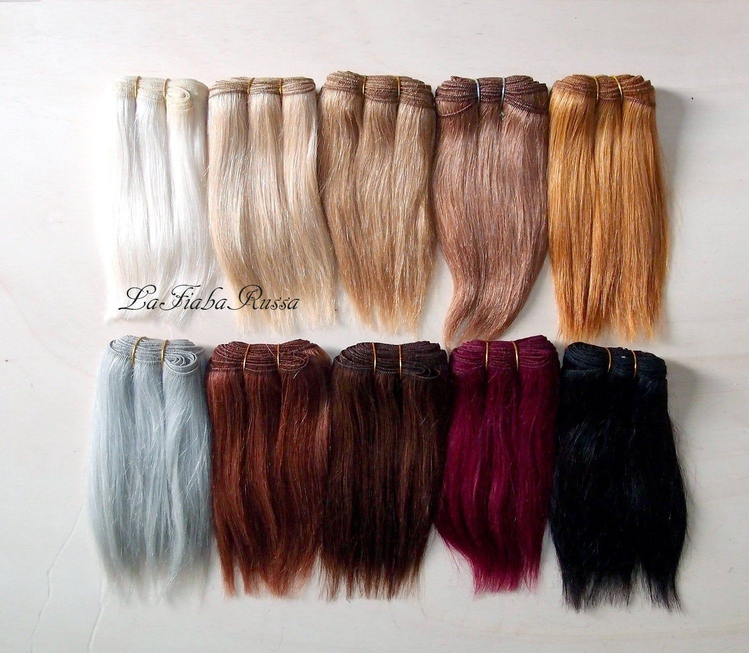 English Mohair Wefting Medium Brown for doll wigs.