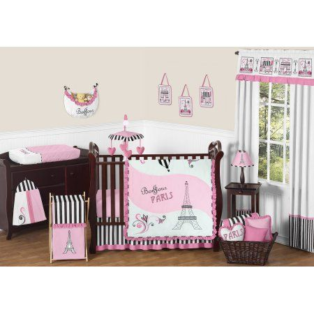 11pc Crib Bedding Set for the Paris Collection by Sweet Jojo Designs, Black