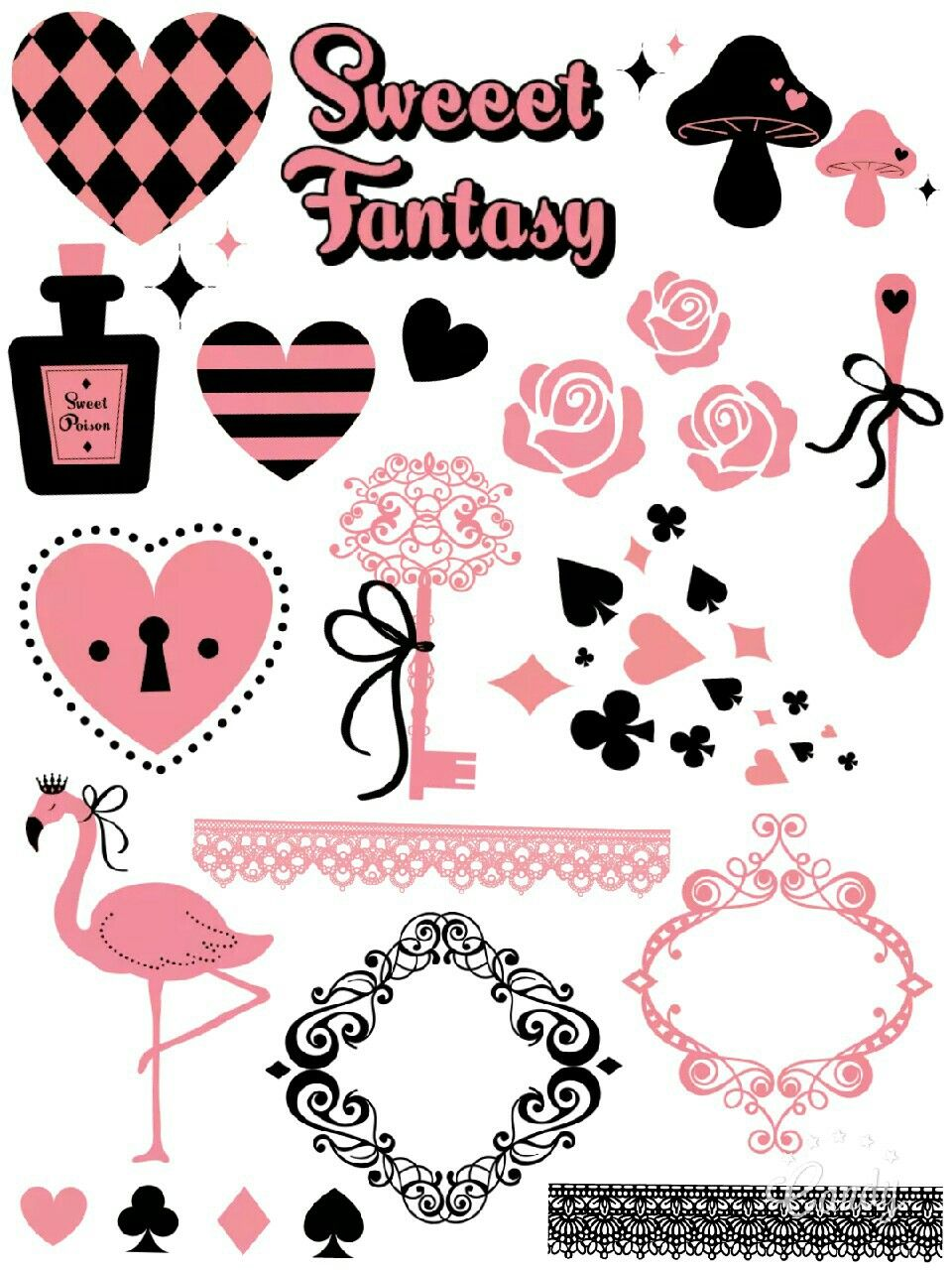 Alice in wonderland tools 2 sticker printable aliceinwonderlandpinkandblackcutegirlybeautysticker printablefreecandycameraapp