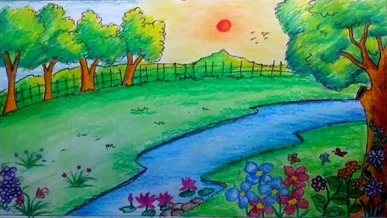 How To Draw A Scenery Of Garden By Oil Pastels Landscape Drawing Youtube Landscape Drawings Landscape Drawing Easy Oil Pastel Landscape