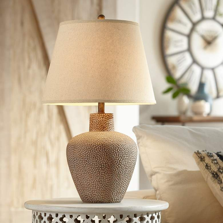 Bentley Brown Leaf Hammered Pot Table Lamp 2g425 Lamps Plus In 2021 Rustic Table Lamps Table Lamp Farmhouse Table Lamps