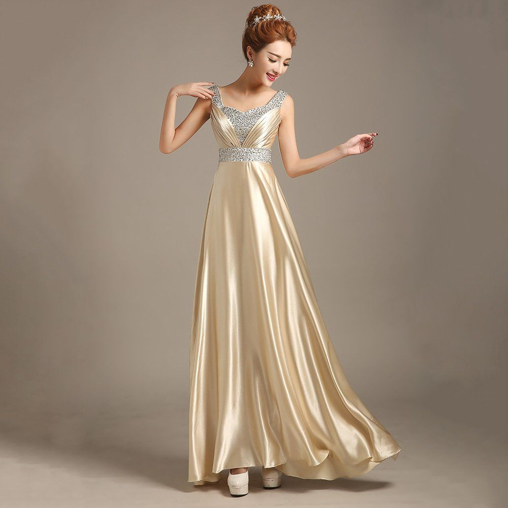 Zicac long formal evening party gown bridesmaid prom dress satin at