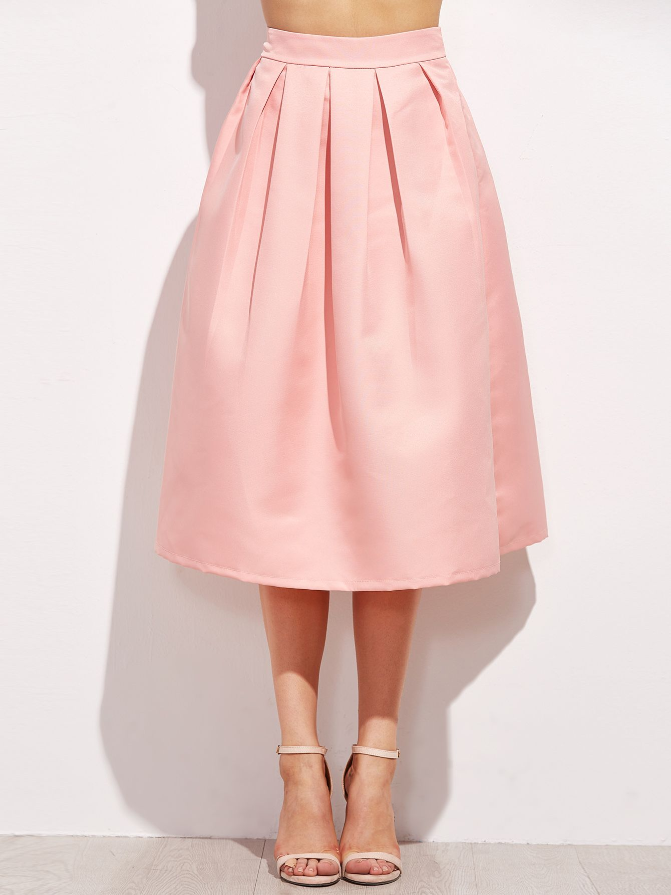 7487b5d1c5 Pink Zipper Side Flare Skirt -SheIn(Sheinside)   Clothes/fashion ...