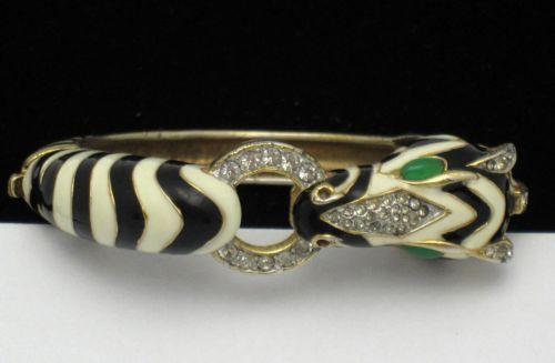 Vintage Signed Ciner Zebra Hinged Bracelet Enamel Rhinestone Scarce | eBay