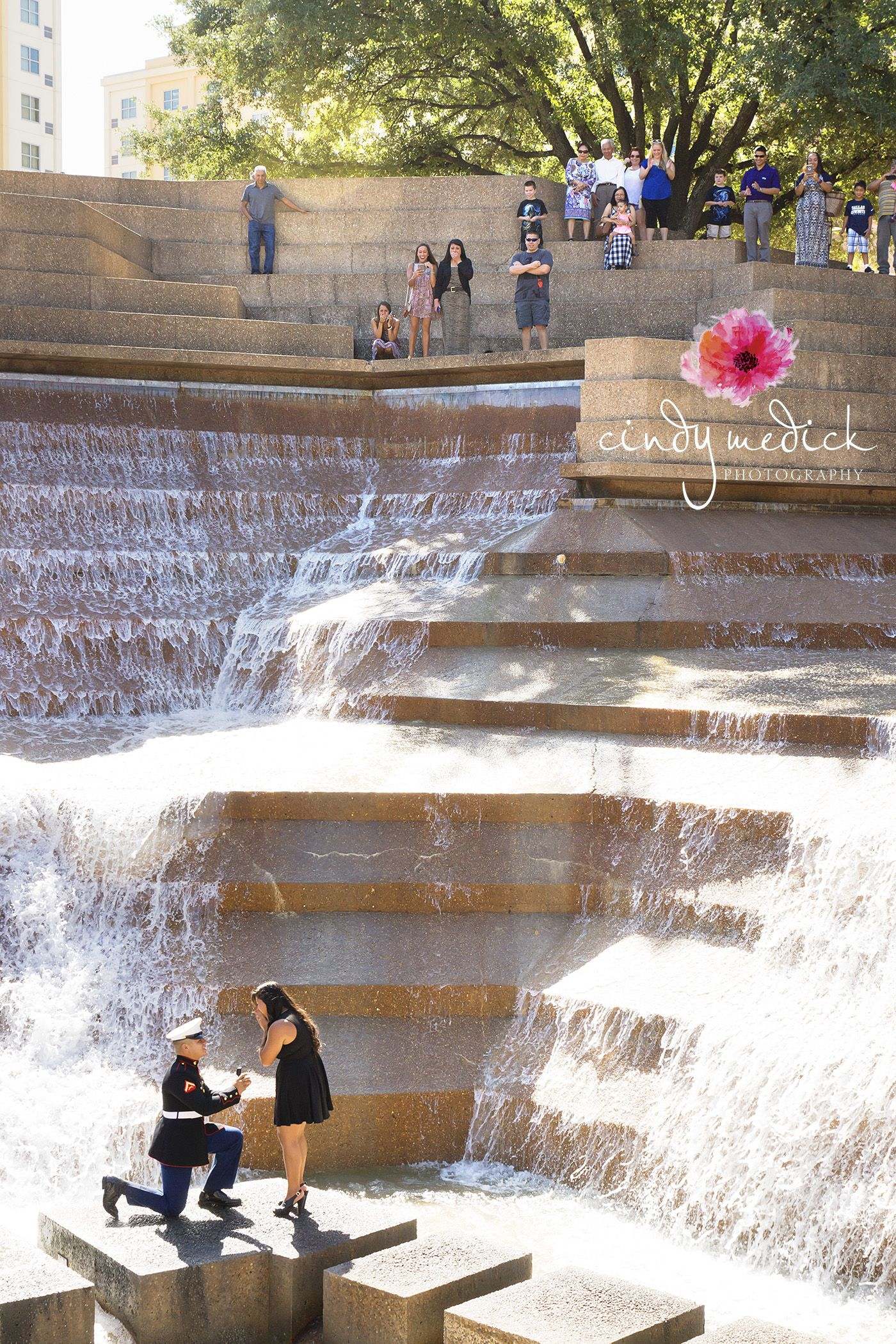 Fort Worth Water Gardens Engagement. She had no idea her