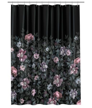 Black Floral Shower Curtain In Water Repellent Polyester With A