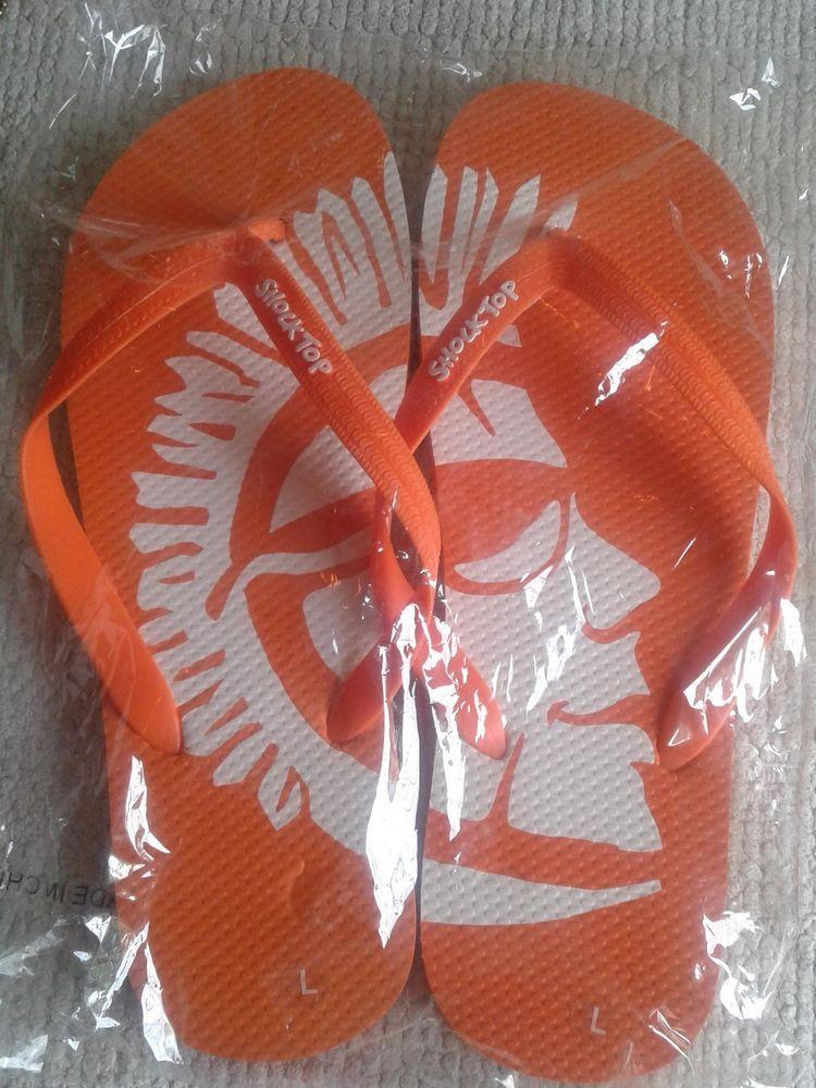481acb58f7dc27 NEW NIP Orange Shock Top Flip Flops Beer Advertising Sz L Large Party Promo