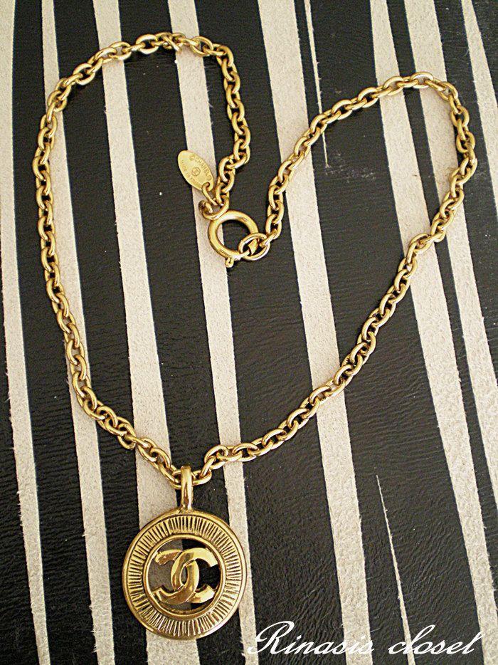 CHANEL, vintage, cc, coco, logo, gold, necklace, pendant