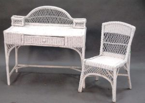 White Wicker Vanity Chair Homey Roomy Furniture Architecture