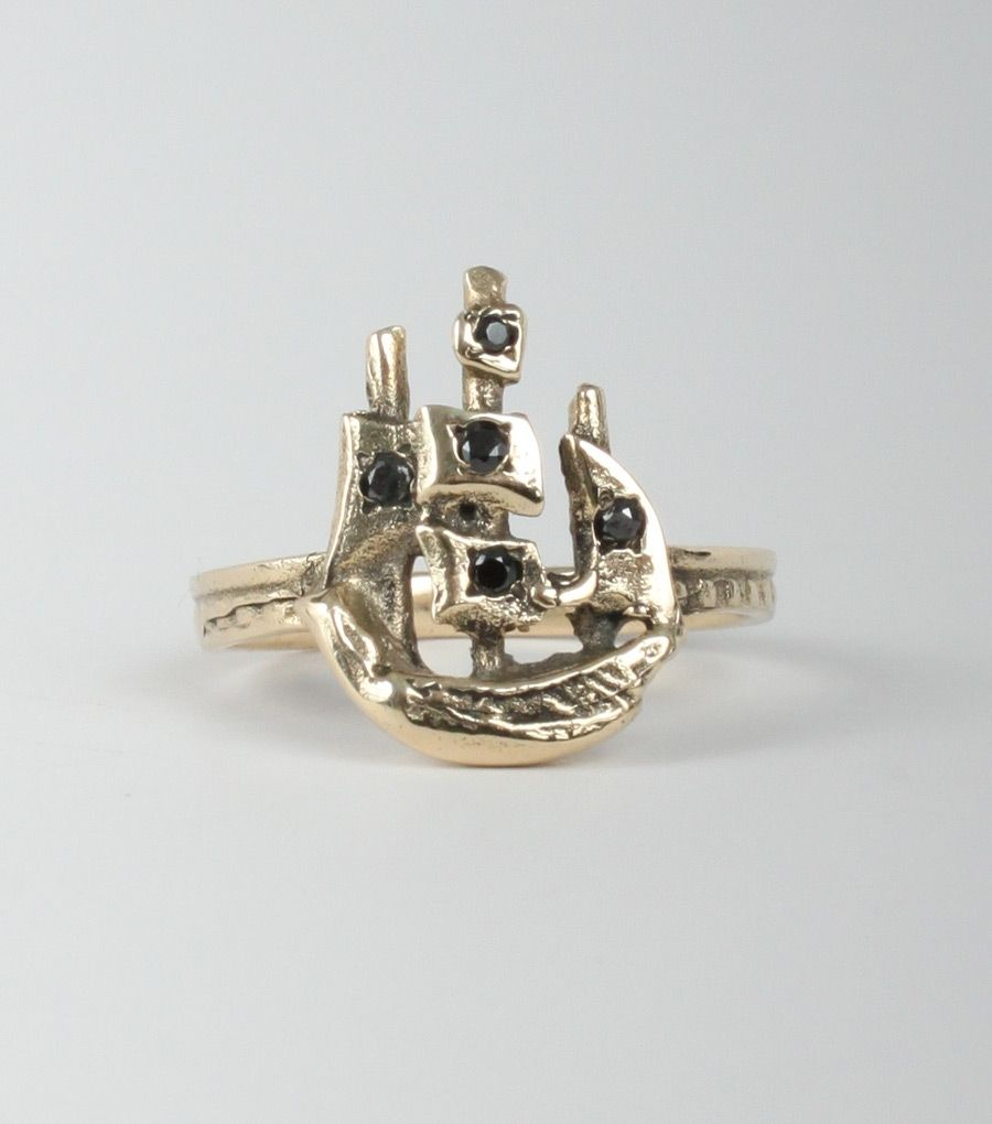 Scout Ring in14k yellow gold with black diamonds, now available at www.catbirdnyc.com.