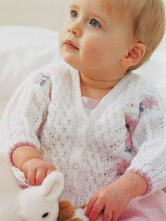 Baby's Flower Lace Cardigan | AllFreeKnitting.com