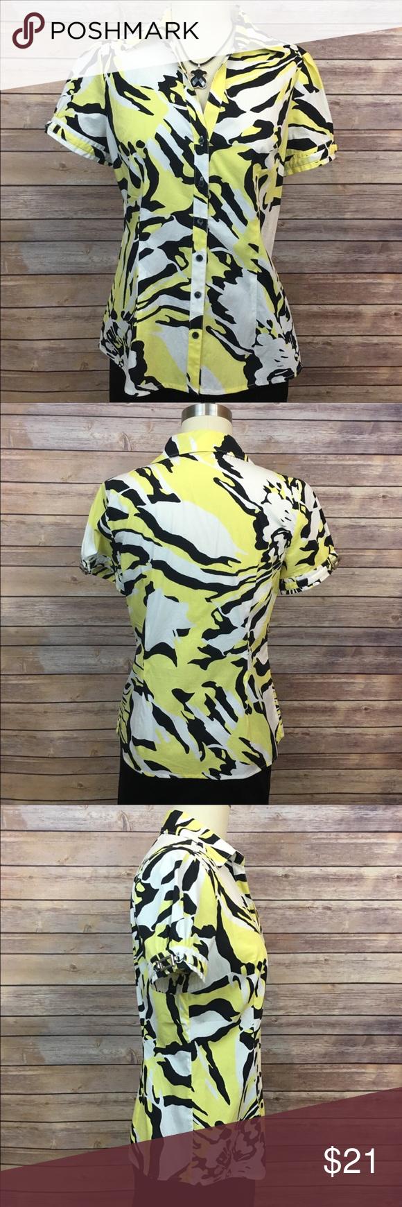 White t shirt express - Express Short Sleeve Button Down Shirt Express Yellow Black And White Short Sleeve Shirt