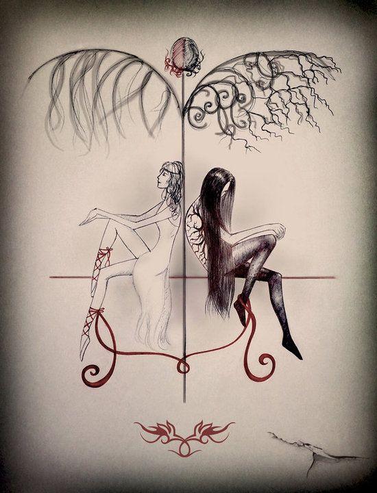 Tatouage Gemeaux Mi Ange Mi Demon