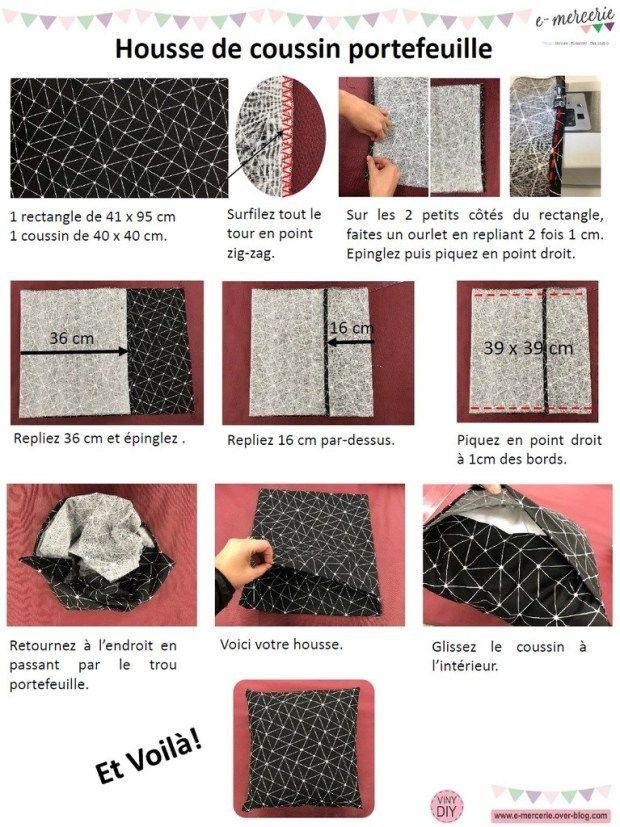 Housse De Coussin Portefeuille Tuto Couture Diy En 2020 Tuto Housse De Coussin Tuto Couture Blog Couture