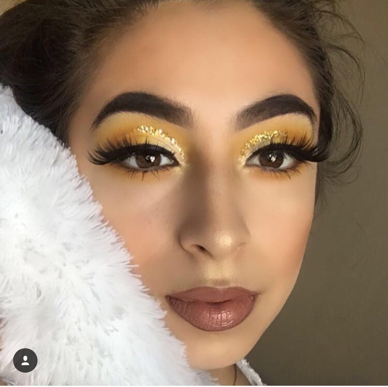 Yellow Orange Eyeshadow Glitter Liner Eye Makeup Look Fleeky