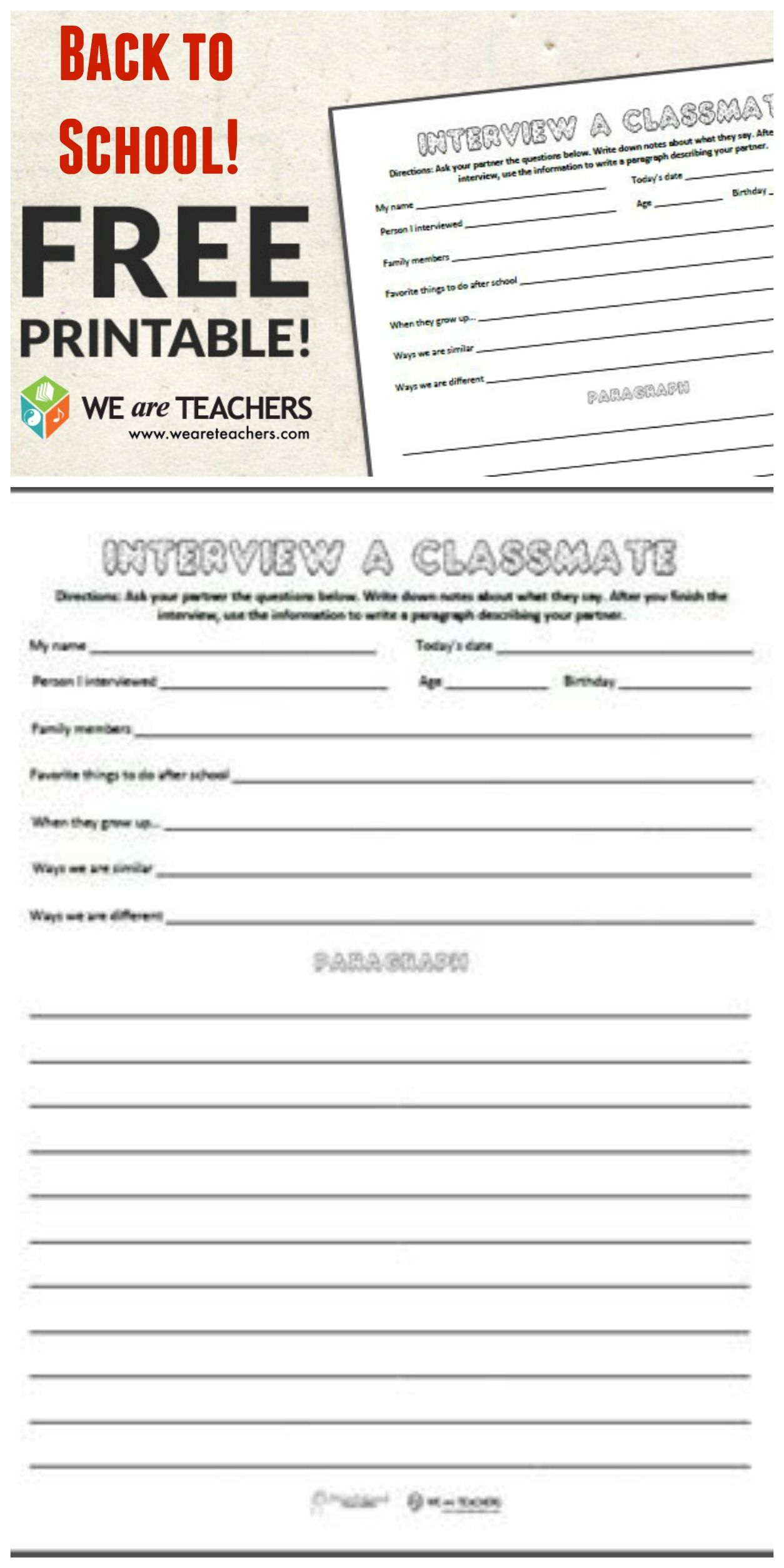 Free Printable Get To Know Your Teacher Back To School