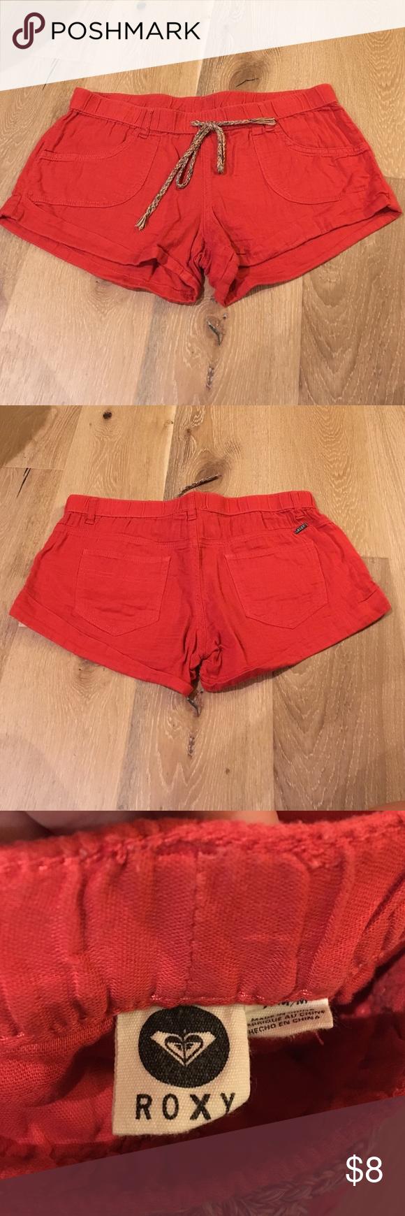 Roxy burnt orange linen shorts Roxy burnt orange linen shorts. Rainbow tie at waist band. Worn but still great condition. Inseam is 2 inches. Roxy Shorts