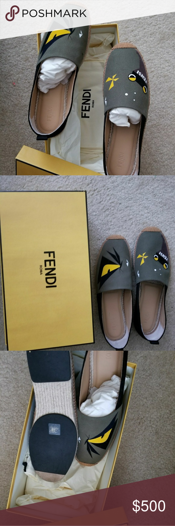 e416fc0e Fendi Shoes Espadrilles in grass green cotton canvas, featuring a ...