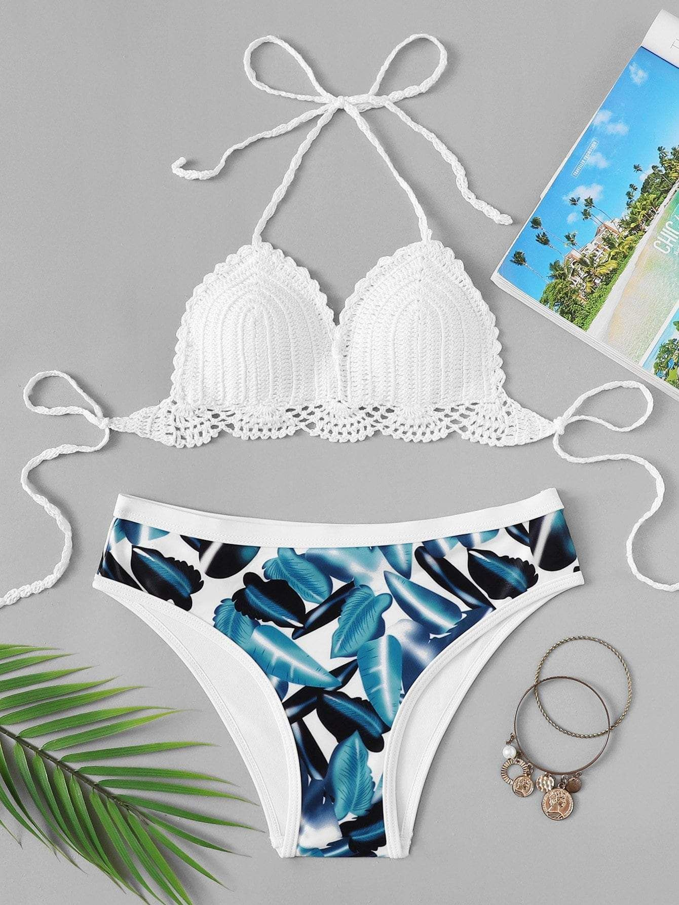 350d5bab00 crochet top with tropical print bikini set. #swimwear #beachwear #swimsuits  #bathingsuits #fashion