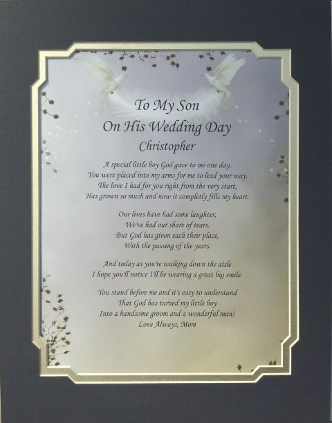 Mother To Son Wedding Day Poems Details About My On His Poem Personalized Gift