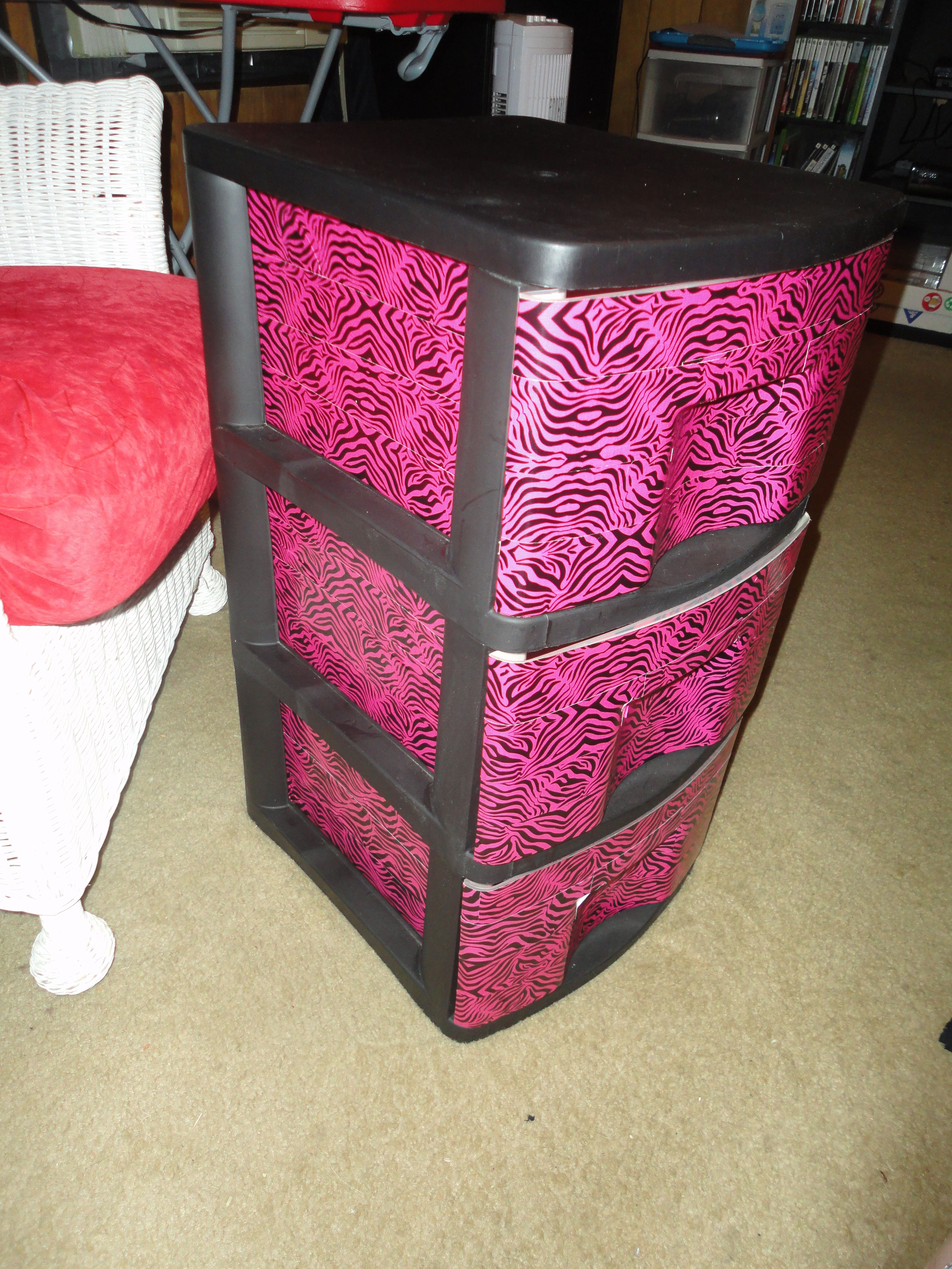 Gallery Website A once plain sterilite drawer plastic drawer set from Walmart spiced up with some zebra