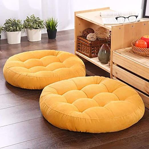1 Piece Solid Color Round Corduroy Floor Cushion,Tufted Soft Thick Not-Slip Chair Pad Tatami Window Pad Floor Pillow Pouf Yellow 55x55x10cm(22x22x4inch)
