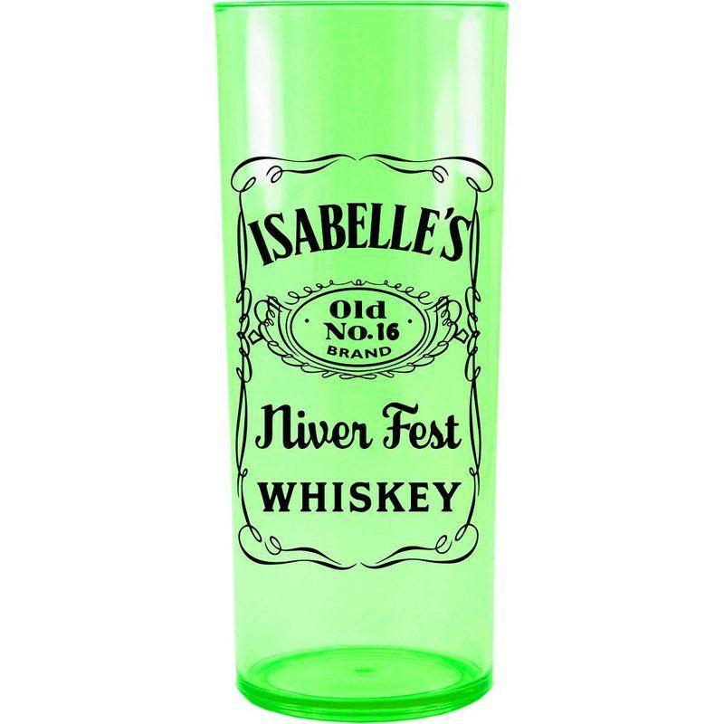 Adesivo De Chão Personalizado Sp ~ Copo Acrílico Personalizado Aniversário Jacki Daniels Verde Neon ArtePress Brindes, Canecas