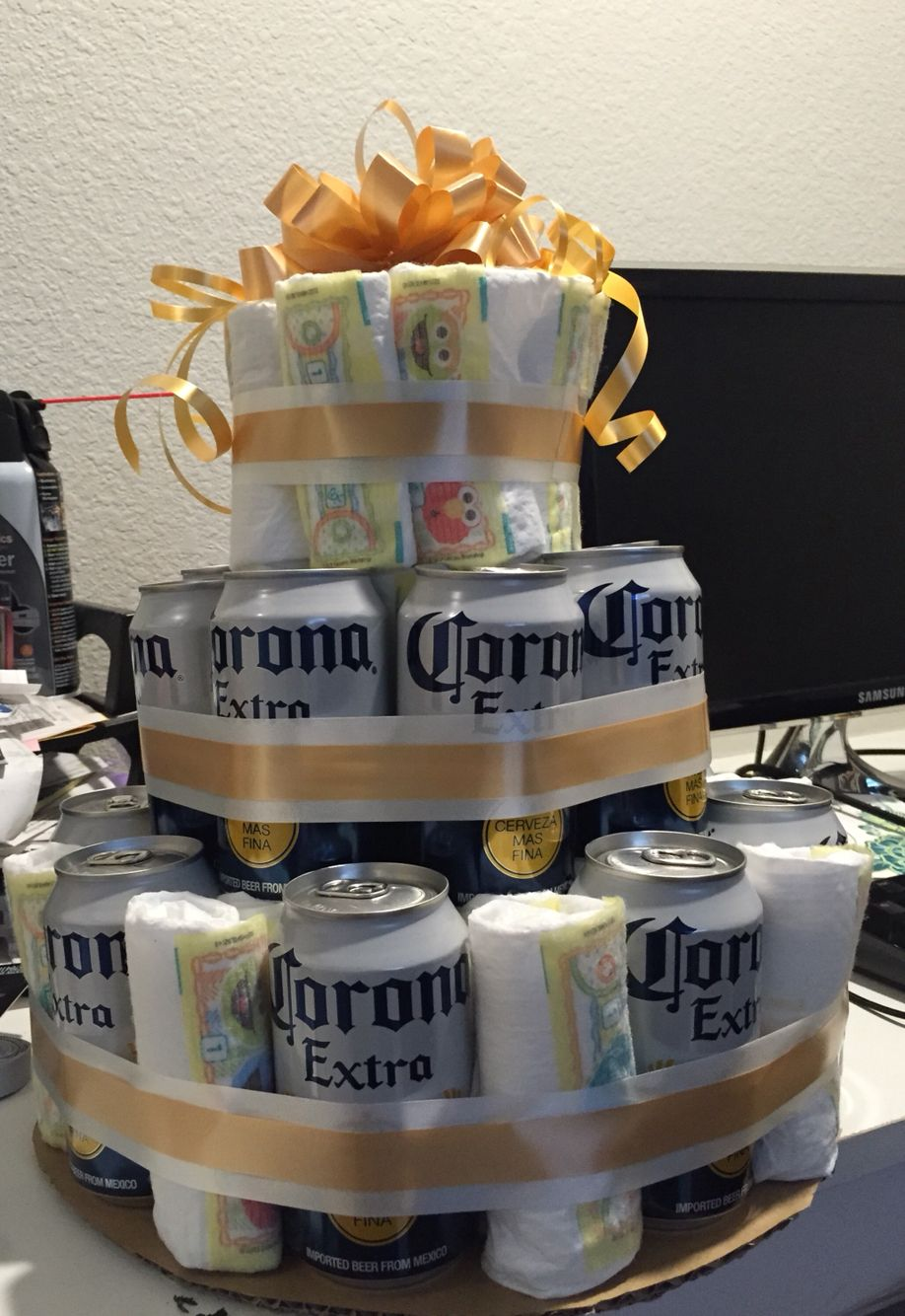 Beer And Diaper Cake Husband Made It For His Men Only Shower