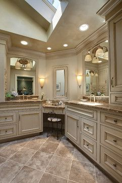 Medicine Cabinet Mirror Over Makeup Counter Master Bedroom And Bath Bathroom Corner Vanity Traditional Bathroom