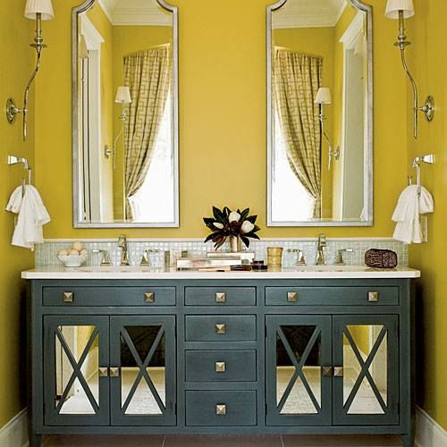 Bold Colours for Traditional Powder Room.