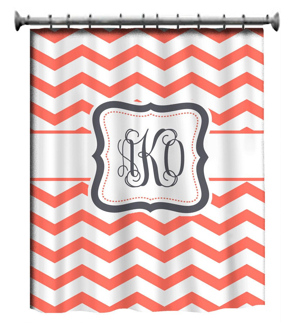 Personalized Shower Curtain - Coral & White Chevron -Gray Accent ...