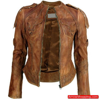 Arrow Women Sheepskin Brown Washed Leather Jacket – 78798ygg33