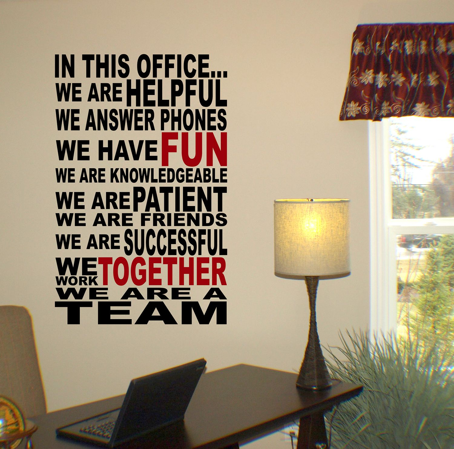 we are a team wall decal | word design, adhesive vinyl and wall decals