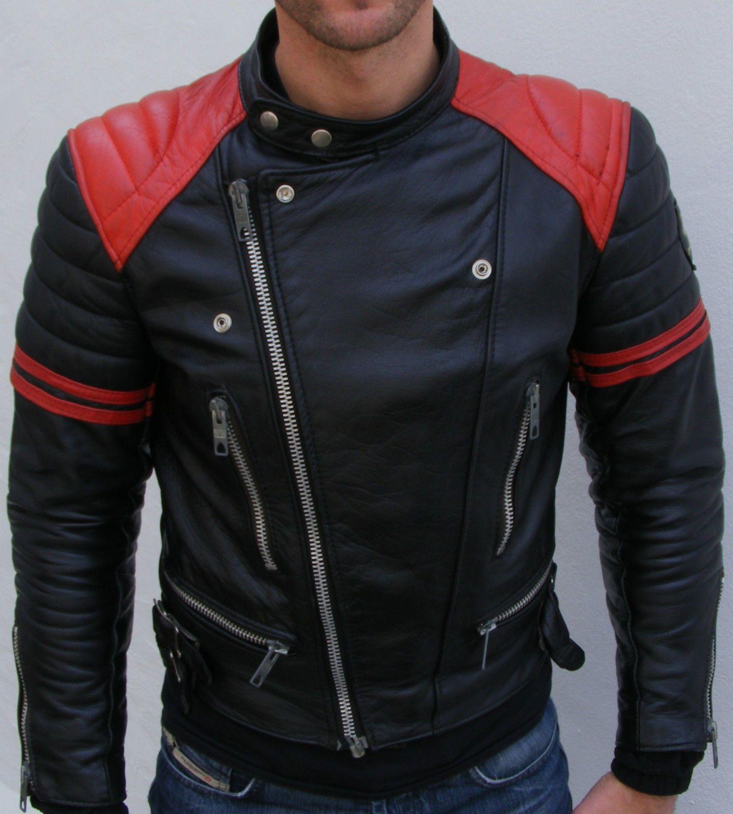 FASHION GENUINE LEATHER Jacket Stylish Biker Black /& Red