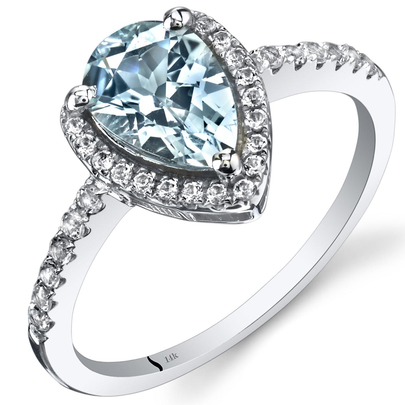 Oravo 14k White Gold Pear-cut Gemstone Open Halo Ring (1.25 ct Create Emerald Size 5), Women's, Green