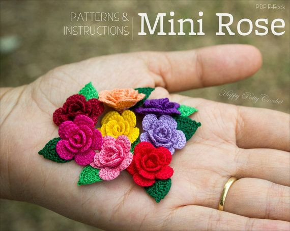 Mini Crochet flor patrón - patrón de rosa apliques de ganchillo ...