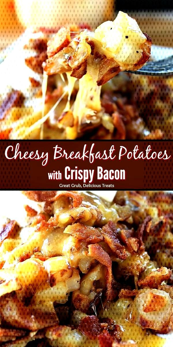 Cheesy Breakfast Potatoes with Crispy Bacon are perfect to add to the breakfast menu. They are load