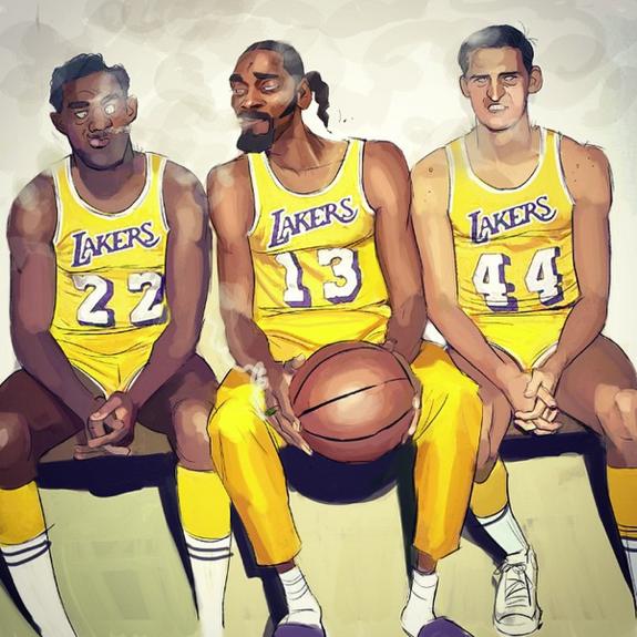 Elgin Baylor x Snoop Dogg x Jerry West Illustration