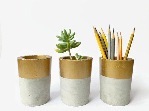Concrete Pot for Succulent Cactus Grey Gold Urban by BetonDeko