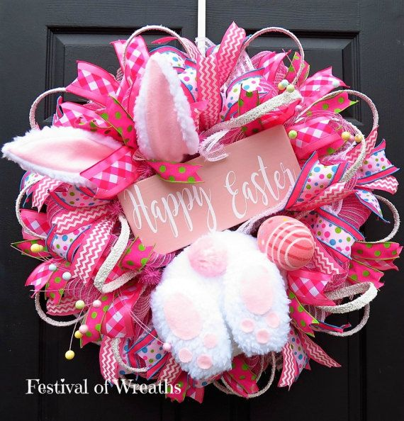 Easter Wreath - Easter Front Door Wreath - Easter Deco Mesh Wreath ...