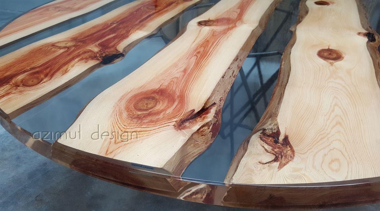 Tavolo in resina e legno di pino azimut resine wood and resin table with clear resin and pine - Tavoli in legno e resina ...