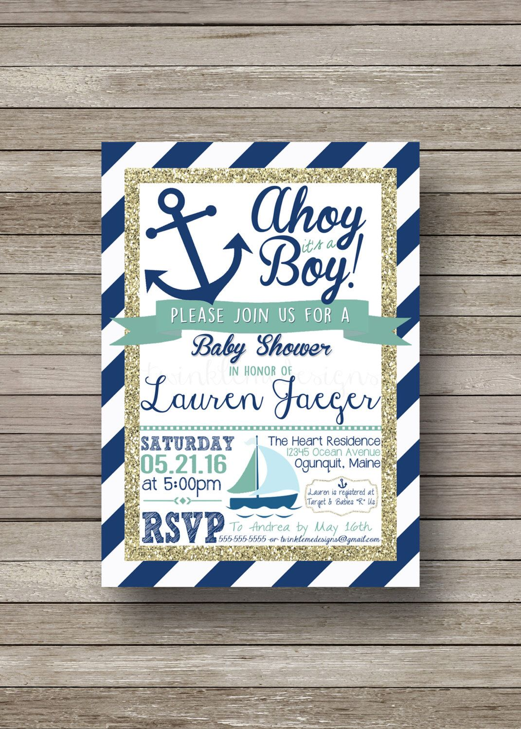 Nautical Baby Shower Invitation, Ahoy it\'s a boy, blue and gold ...