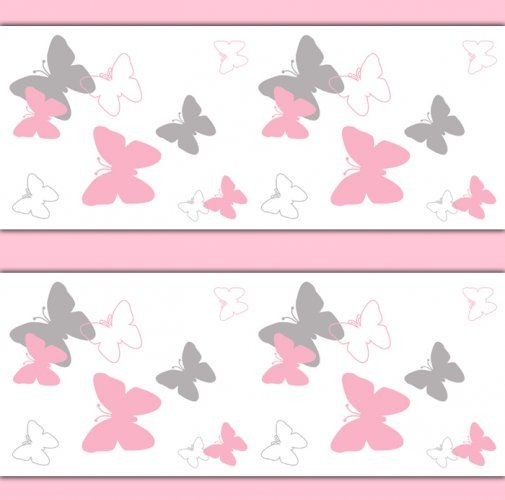 pink and grey gray butterfly wallpaper border wall decals