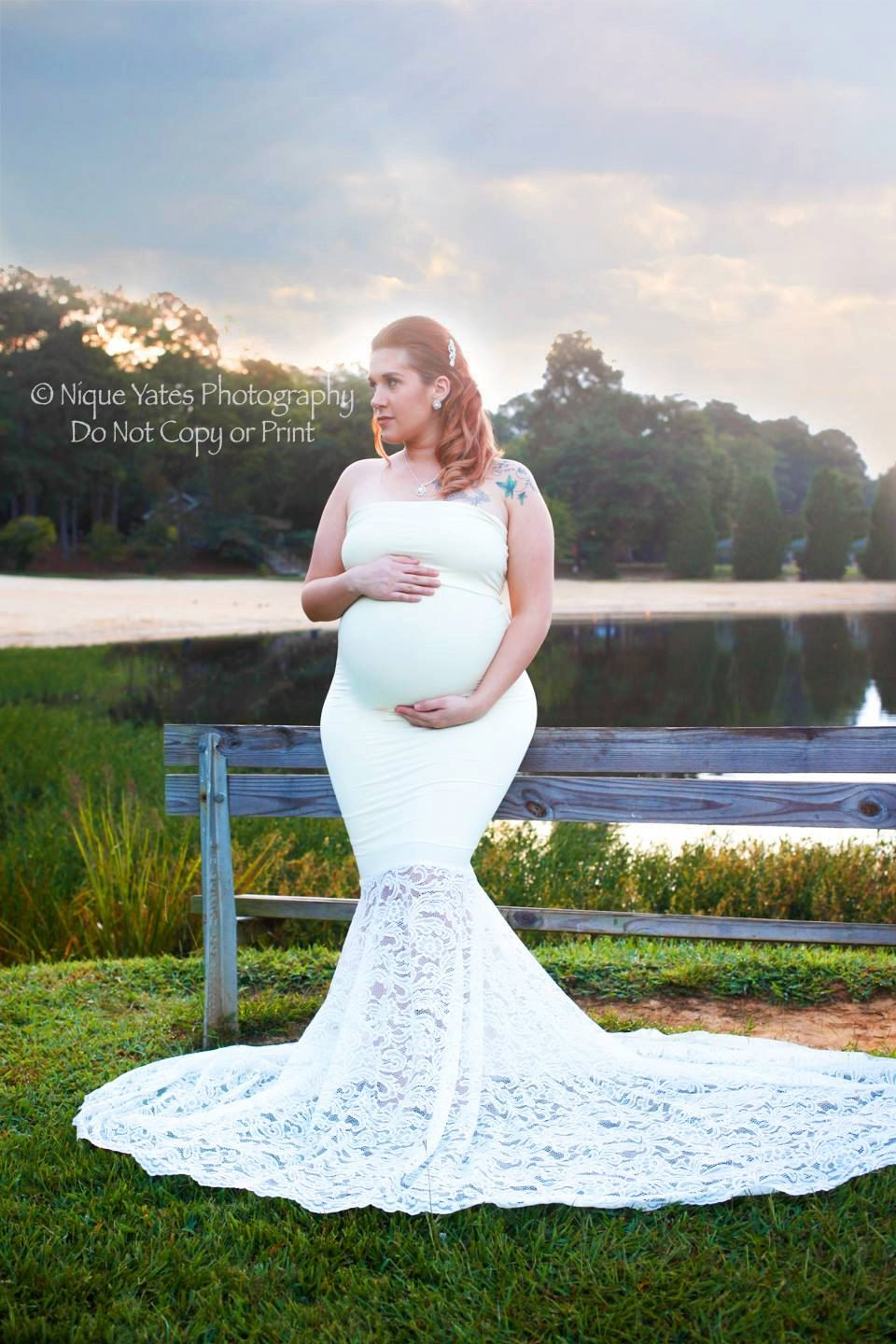 Boho Maternity Gown Photography Maternity Dress White Maternity Wedding Dress  Maternity Bridesmaid Baby Shower Dress Maternity Photo Shoot
