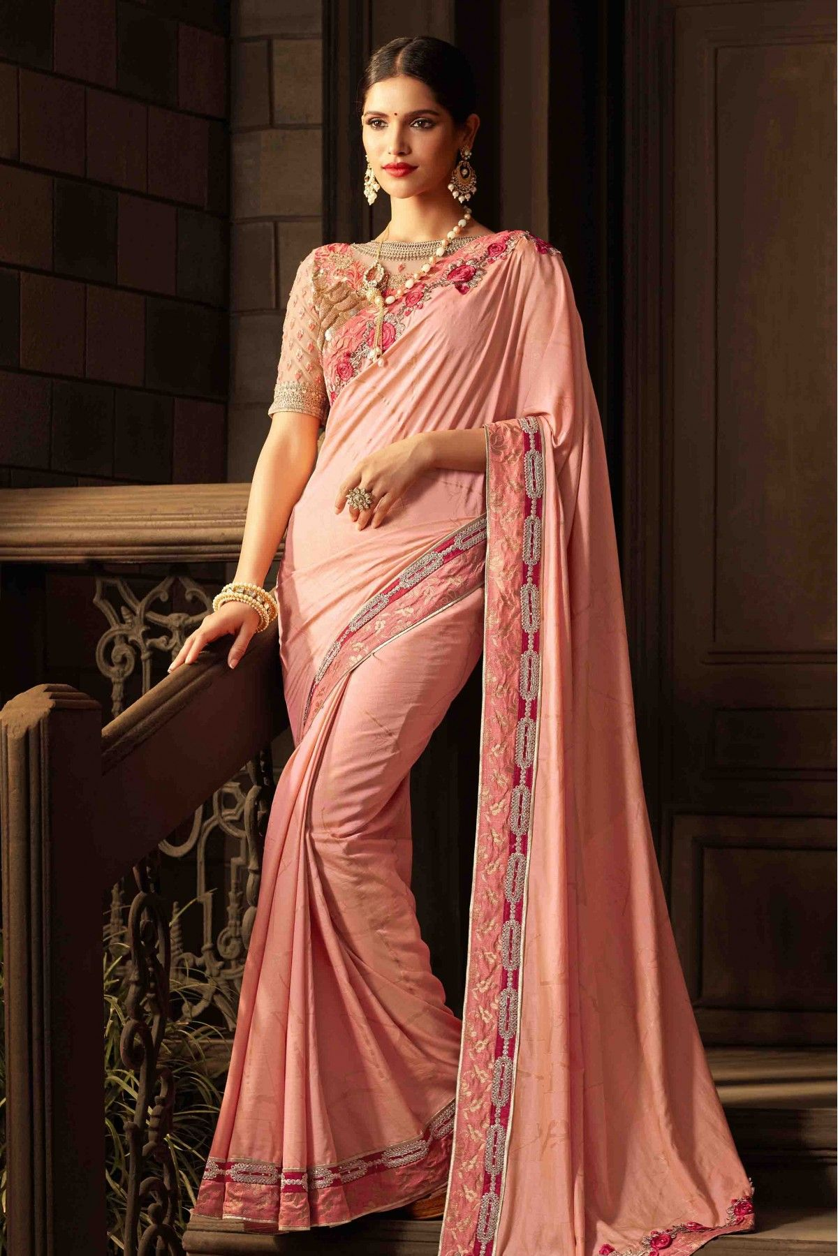 818ec64730 Buy Sana Silk Saree In Baby Pink Colour for women @ ninecolours.com.  Worldwide Free Shipping Available!