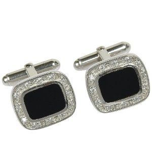 Valentine Gifts for Him Sterling Silver Black Onyx Cuff Links Pair
