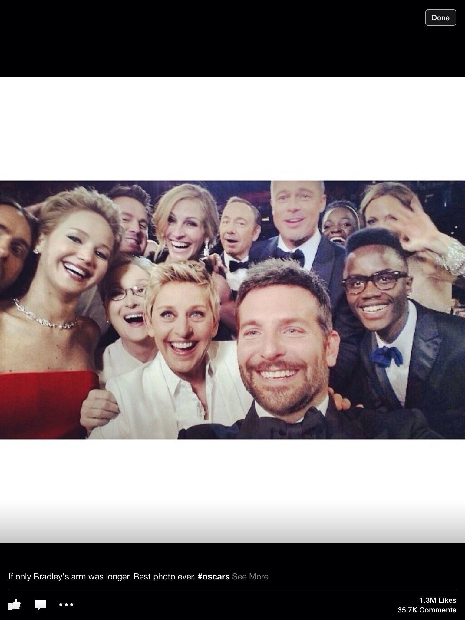 At the Academy Awards... Ellen's selfie shot.