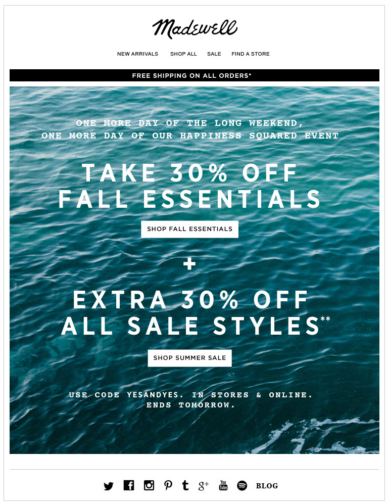 Madewell Labor Day Sale Email Subject Line One More Day Of The Long Weekend One More Day Of Sale One More Day Long Weekend Madewell